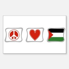 Peace, Love and Palestine Sticker (Rectangle)