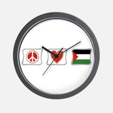 Peace, Love and Palestine Wall Clock
