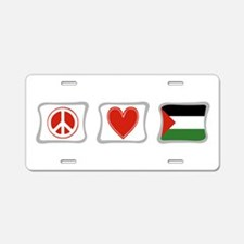 Peace, Love and Palestine Aluminum License Plate