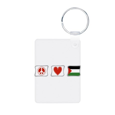 Peace, Love and Palestine Aluminum Photo Keychain