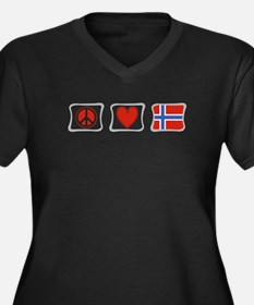 Peace, Love and Norway Women's Plus Size V-Neck Da