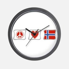 Peace, Love and Norway Wall Clock
