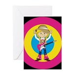 Hippie Girl with Guitar Greeting Card