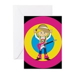 Hippie Girl with Guitar Greeting Cards (Pk of 10)