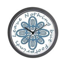 Leave Nothing Boot Print Blue Wall Clock