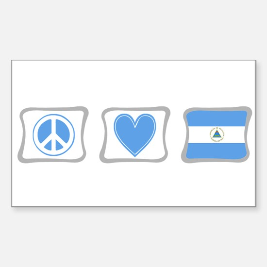 Peace, Love and Nicaragua Sticker (Rectangle)
