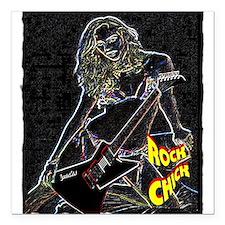 "rock chick neon color Square Car Magnet 3"" x 3"""