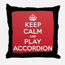 Keep Calm Play Accordion Throw Pillow