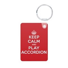 Keep Calm Play Accordion Aluminum Photo Keychain