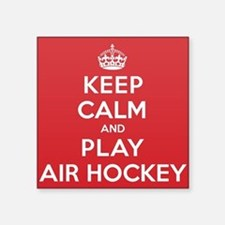 "Keep Calm Play Air Hockey Square Sticker 3"" x 3"""