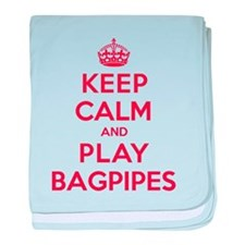 Keep Calm Play Bagpipes baby blanket