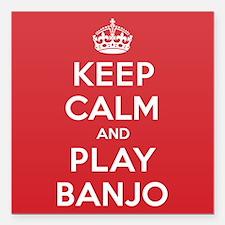 "Keep Calm Play Banjo Square Car Magnet 3"" x 3"""