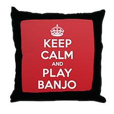 Keep Calm Play Banjo Throw Pillow