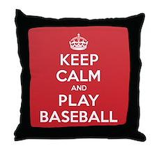 Keep Calm Play Baseball Throw Pillow