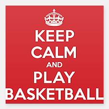 "Keep Calm Play Basketball Square Car Magnet 3"" x 3"