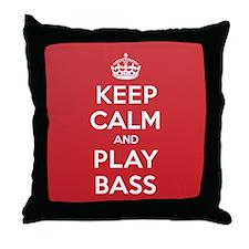 Keep Calm Play Bass Throw Pillow