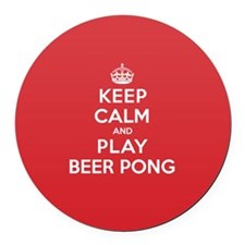 Keep Calm Play Beer Pong Round Car Magnet