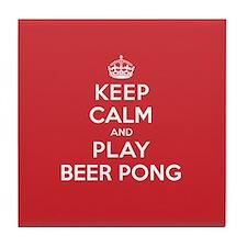 Keep Calm Play Beer Pong Tile Coaster