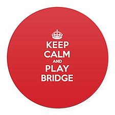 Keep Calm Play Bridge Round Car Magnet