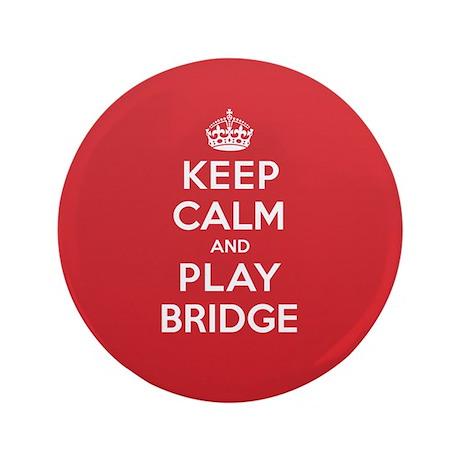 """Keep Calm Play Bridge 3.5"""" Button (100 pack)"""