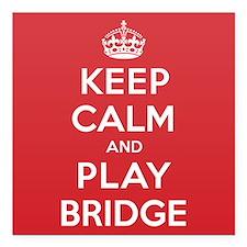 """Keep Calm Play Bridge Square Car Magnet 3"""" x 3"""""""