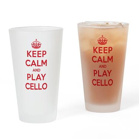 Keep Calm Play Cello Drinking Glass