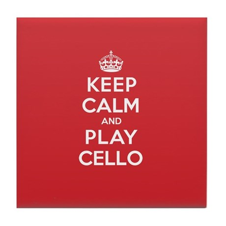 Keep Calm Play Cello Tile Coaster