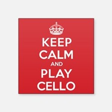 "Keep Calm Play Cello Square Sticker 3"" x 3"""