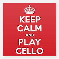 """Keep Calm Play Cello Square Car Magnet 3"""" x 3"""""""