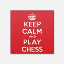 "Keep Calm Play Chess Square Sticker 3"" x 3"""