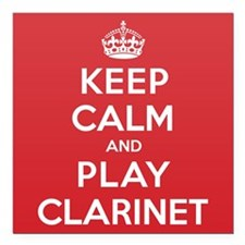 "Keep Calm Play Clarinet Square Car Magnet 3"" x 3"""