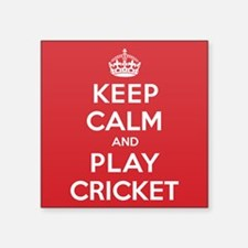 "Keep Calm Play Cricket Square Sticker 3"" x 3"""
