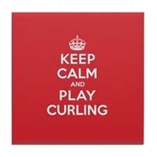 Keep Calm Play Curling Tile Coaster