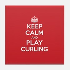 Keep Calm Play Curling Tile Coaster