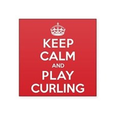 """Keep Calm Play Curling Square Sticker 3"""" x 3"""""""
