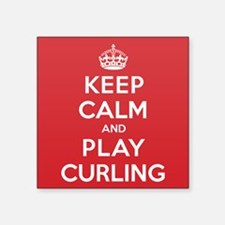 "Keep Calm Play Curling Square Sticker 3"" x 3"""