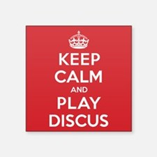 "Keep Calm Play Discus Square Sticker 3"" x 3"""