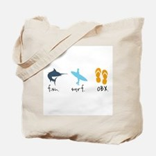 Fish. Surf. OBX. Tote Bag