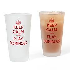 Keep Calm Play Dominoes Drinking Glass