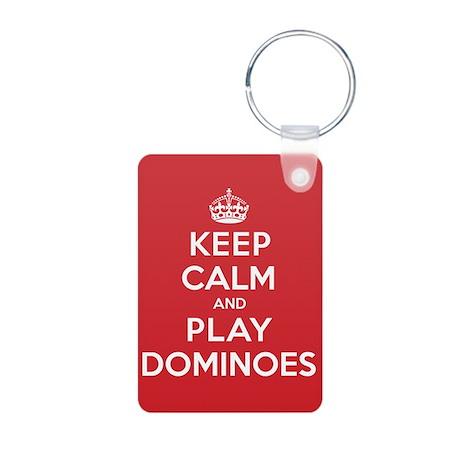 Keep Calm Play Dominoes Aluminum Photo Keychain