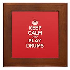 Keep Calm Play Drums Framed Tile