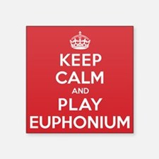 "Keep Calm Play Euphonium Square Sticker 3"" x 3"""