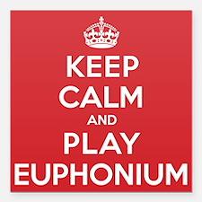 "Keep Calm Play Euphonium Square Car Magnet 3"" x 3"""
