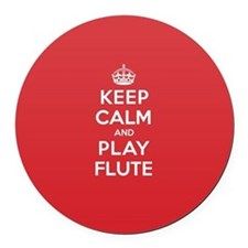 Keep Calm Play Flute Round Car Magnet