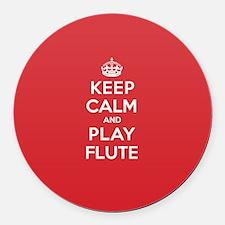Keep Calm Play Flute Round Car Magnet