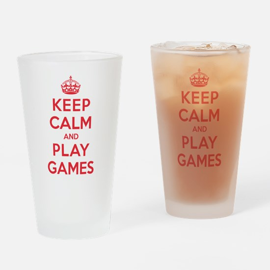 Keep Calm Play Games Drinking Glass