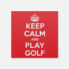 "Keep Calm Play Golf Square Sticker 3"" x 3"""