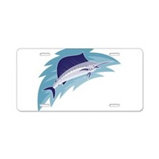 sailfish jumping retro style Aluminum License Plat