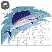sailfish jumping retro style Puzzle