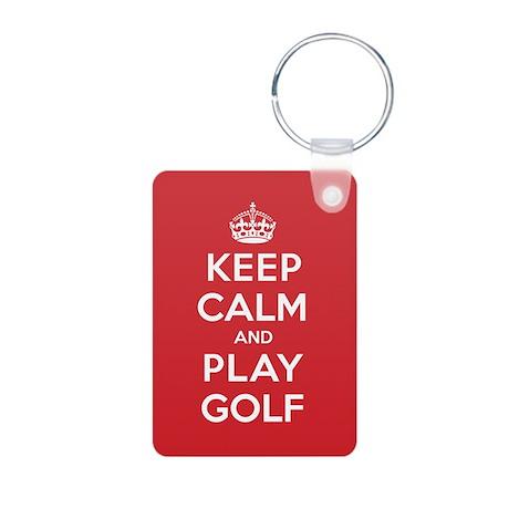 Keep Calm Play Golf Aluminum Photo Keychain